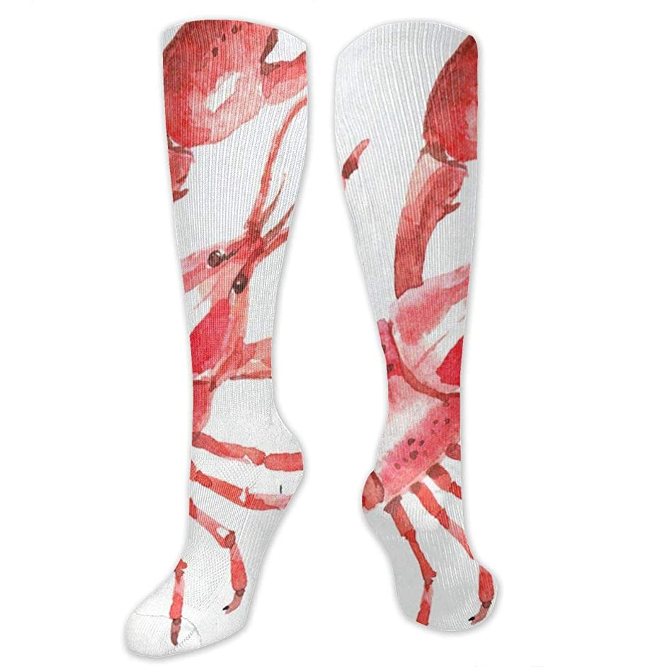 Compression Socks Watercolor Lobsters Girls Winter Sock Accessory Tight Stocking for Womens Men Boys