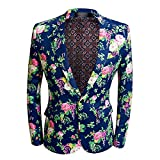 CARFFIV Mens Fashion Colorated Floral Print Suit Jacket Casual Blazer (Rose Flower, M/40R)