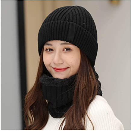 2019 Women Women's Winter and Autumn Hats Knitted Skiing Hats Thick Warm Hats Soft Knitted Hats (Color : Black, Size : 55-60cm)