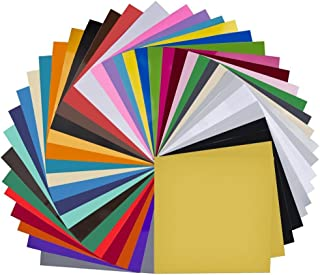 """Vinyl Sheets 40 Pack 12"""" x 12"""" Premium Permanent Self Adhesive Vinyl Sheets for Cricut,Silhouette Cameo,Craft Cutters,Printers,Letters,Decals (35 Color)"""