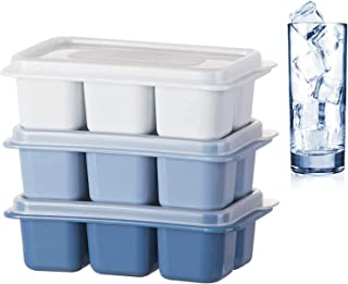 SKEIDO Ice Cube Tray | Pack of 3 | Blue Color | Six Ice per Tray | with Removable Lid Easy Release Flexible Ice Cube | Mol...