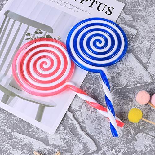 ABOOFAN 2 piezas Lollipop Prop Lollipop Candy Embellishment DIY Rainbow Color Lolly Crafts para decoración de vestir payaso cosplay payaso vestir (color al azar)