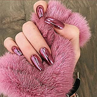 YERTTER 24pcs Metallic Mirror Effect Punk False Nails for Women Ladies and Girls Coffin Full Cover Fingernails Tips Night ...