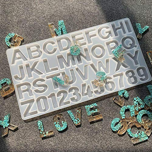 Tonsee Gießform Silikonform Kit Resin Mold Harz Form für Schmuckherstellung Anhänger Halskette Ohrringe Dekoration Schmuckständer DIY,Englische Buchstaben und Zahlen
