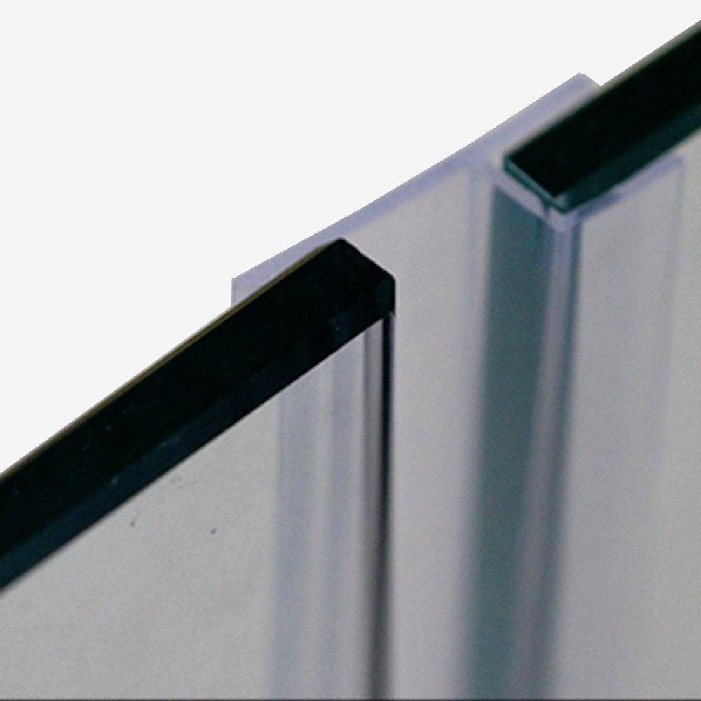 Proyecto de tapón sin marco cristal corredera Sash Protector de ducha Puerta Burlete tira de juntas de silicona (1/2, 12mm de grosor de cristal 3m 9.87 pies grandes h: Amazon.es: Bricolaje y