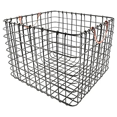 Antique Pewter Basket with Copper Handles - Large Milk Crate