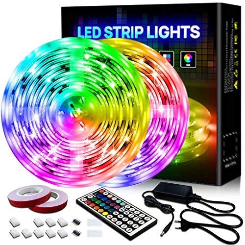 BILIFIT Tiras LED,10M Luces LED 5050 RGB con 300 LEDs Impermeable, 16 Milliones de Colores 29 Modos, Función Musical y 6 Opciones DIY para Habitación, Decoración, Interior y Exterior