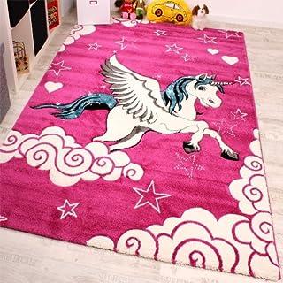 Paco Home Alfombra Infantil - Diseño De Unicornio -En Rosa Crema Turquesa, tamaño:80x150 cm