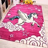 Kinderzimmer Teppich für Kinder Das Kleine Einhorn Pink Creme Türkis, Grösse:80x150 cm