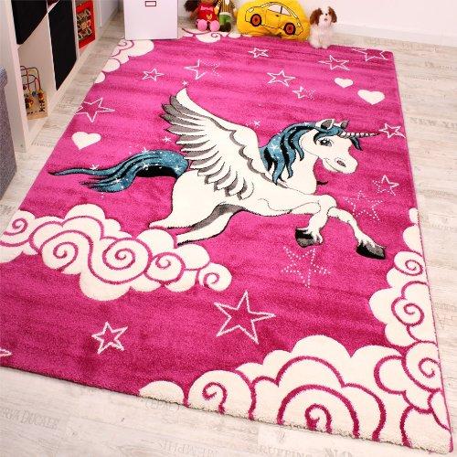 Kinderzimmer Teppich für Kinder Das Kleine Einhorn Pink Creme Türkis, Grösse:140x200 cm