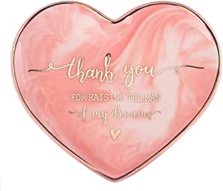 VILIGHT Mom of Groom Gifts - Thank You for Raising The Man of My Dreams Jewelry Tray for Mother in Law - Pink Marble Heart Ceramic Jewelry Holder Trinket - 5.5 Inches