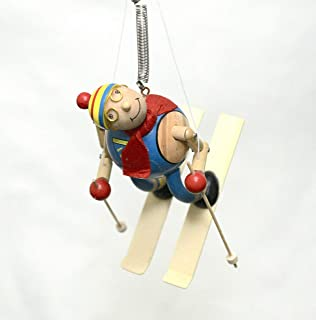 Wupper Airlines Wooden Hanging Mobile (Skier, Yellow, Blue, red)