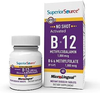 Superior Source No Shot Vitamin B12 Methylcobalamin (1000 mcg), Methylfolate, B6, Quick Dissolve Sublingual Tablets, 60 Ct...
