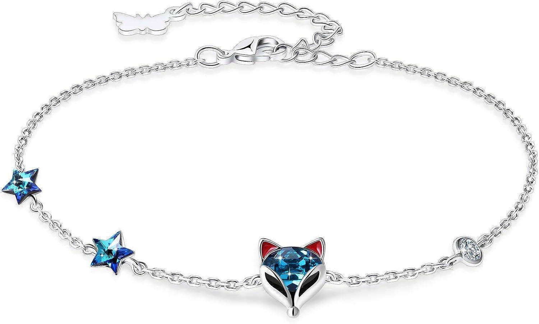 PLATO H Fox Bracelet Thin Fine Chain for Women Girls Blue Crysta