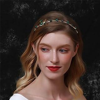 Aimimier Baroque Bridal Crystal Headband Vintage Embellished Emerald Crown Thin Rhinestone Bee Hair Hoop for Women and Girls