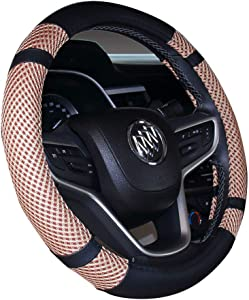 Istn Steering Wheel Cover Microfiber Leather Viscose  Breathable  Anti-Slip  Odorless  Warm Winter Cool Summer  Universal Inches Beige