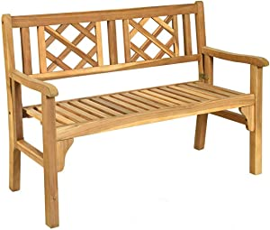 HAPPYGRILL Outdoor Patio Bench Acacia Wood Garden Bench with Backrest and Armrest, Foldable 4-Feet Two Person Loveseat Chair for Garden Lawn Balcony Backyard