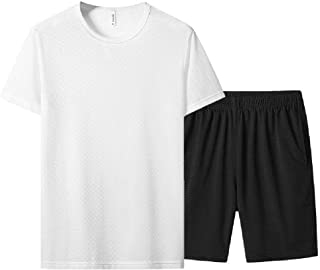 Andopa Mens Short-Sleeve Half Pants 2-Piece Blouse Top+Shorts Set for Fitness