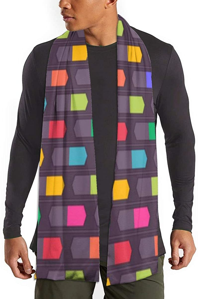 Winter Scarf Shawl Wraps Soft Warm Scarves for Women Men(Colorful Shapes)