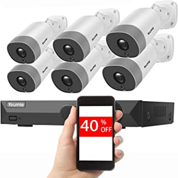 PoE Security Camera System,TIRUMIO 8CH 5MP(2.5x1080P) Wired Home Surveillance PoE NVR System with 6pcs 5MP Super HD Outdoor Cameras,IP67 Weatherproof,100ft Night Vision,Motion Detect,No Hard Drive