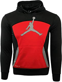 Jordan Little Boys' Air Jumpman Therma-Fit Hoodie (Black/Gym Red, 7 (6-7 Yrs))