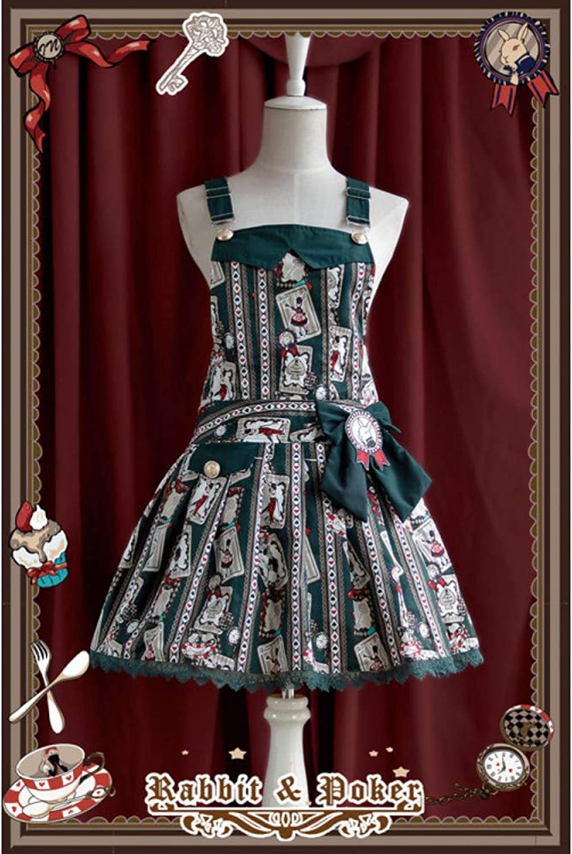 QAQBDBCKL Rabbit Poker Print Girls Tgliche Kleidung Party Uniform Japanische Kawaii Kleider