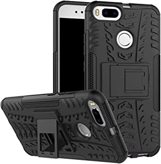 SMTR Xiaomi Mi A1 Funda, [Heavy Duty] Híbrida Rugged Armor Case Choque Absorción Protección Dual Layer Bumper Carcasa con pata de Cabra para Xiaomi Mi A1 Negro
