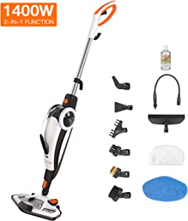 TACKLIFE HSM01A Steam Mop, 2 in 1 Floor Cleaner and Hand-held Steam Cleaner, Suit for Hardwood, Tile, Grout, Laminate, White+Black+Orange