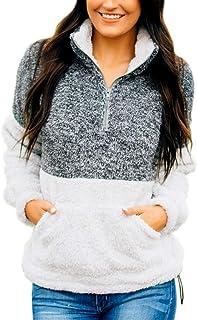 YONYWA Womens Sherpa Pullover Sweatshirts Plus Size Fleece Fuzzy Fluffy Jackets Coat