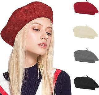 OrientalPort Cappello da basco da donna, tinta unita, classico, stile francese, invernale, caldo, per attività all'aria ap...