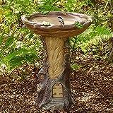 Vogeltränke für den Garten, Polyresin Big Tree Shape Vogelbad Brown Podest Handgefertigte Geschenke für den Hausgarten im Freien, Gartendekorationen (A)