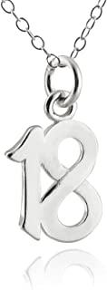 Sterling Silver Number 18 Eighteen Charm Necklace, 18