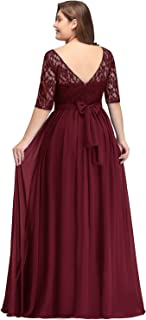 Damen Übergröße Abendkleid Spitze Chiffon mit Ärmel Elegant Lang Ballkleid
