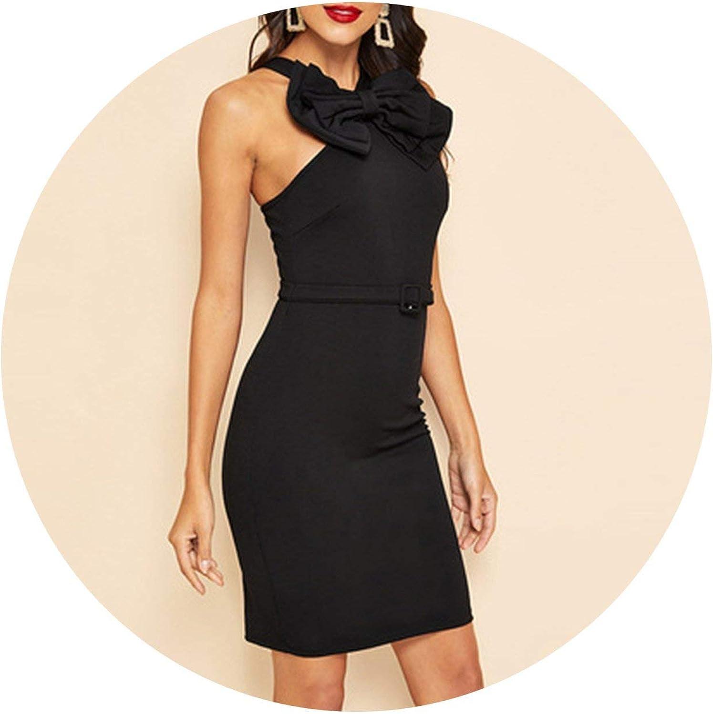 Vintage Black Zip Back Bow Front Belted Bodycon Slim Dress Summer Women Solid Pencil Dresses