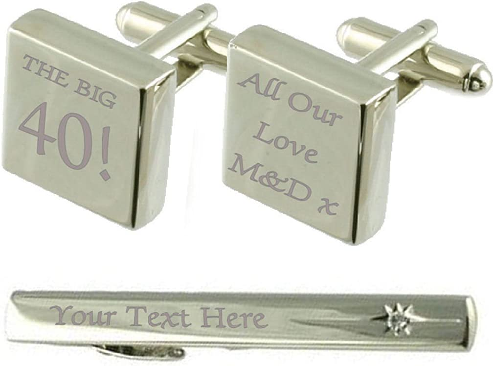 Select New life Gifts Big 40 Birthday Engraved Set Challenge the lowest price Box Tie Clip Cufflinks