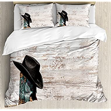 Ambesonne Western Duvet Cover Set Queen Size, Traditional Rodeo Cowboy Hat and Cowgirl Boots in a Retro Grunge Background Art Photo, Decorative 3 Piece Bedding Set with 2 Pillow Shams, Brown Black