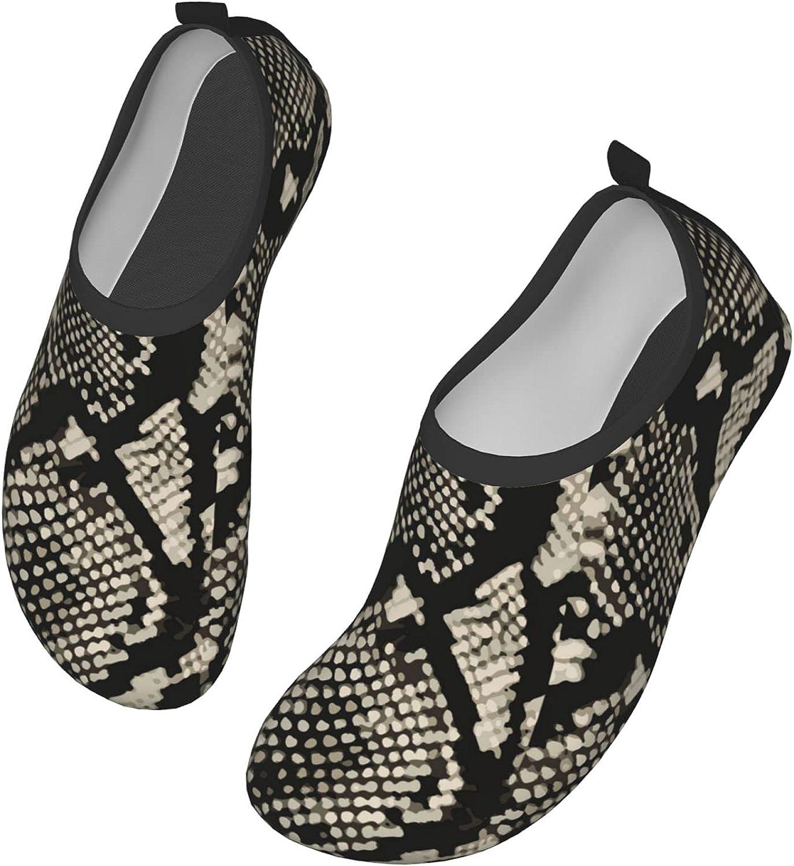 Snake Skin Pattern Animal Fur Water Shoes for Women and Men Beach Pool Shoes Outdoor Beach Swim Sports Quick-Dry Aqua Yoga Socks 10 inch