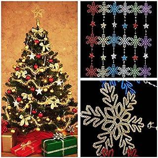 mark8shop Árbol de Navidad estrella copo de nieve Garland de techo Fiesta ventana puerta decoración