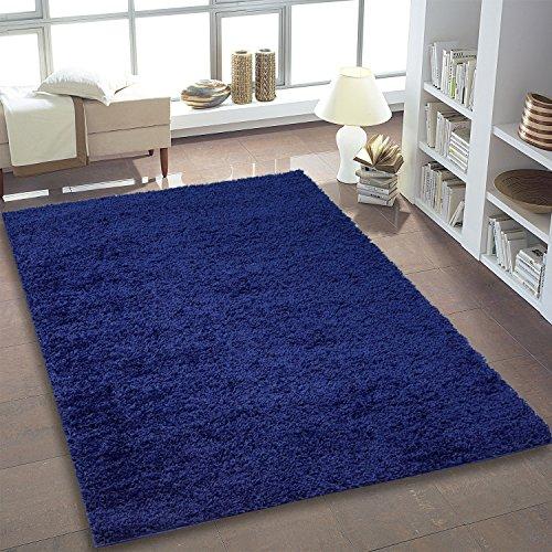 ayshaggy Shaggy Teppich Hochflor Langflor Einfarbig Uni Blau Weich Flauschig Wohnzimmer, Größe: 100 x 200 cm