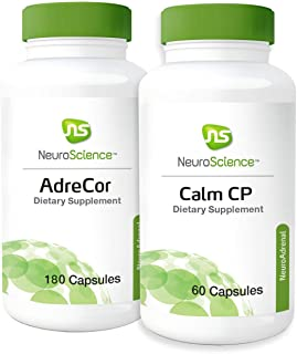 NeuroScience Stress + Adrenal Support Set - AdreCor + Calm CP (2 Products, 180 Capsules, 60 Capsules)