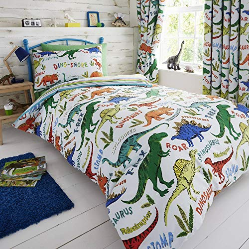 Happy Linen Company Kids Boys Girls Dinosaur Park Jurassic T-Rex Dino Green Reversible Single Bedding Duvet Cover Set