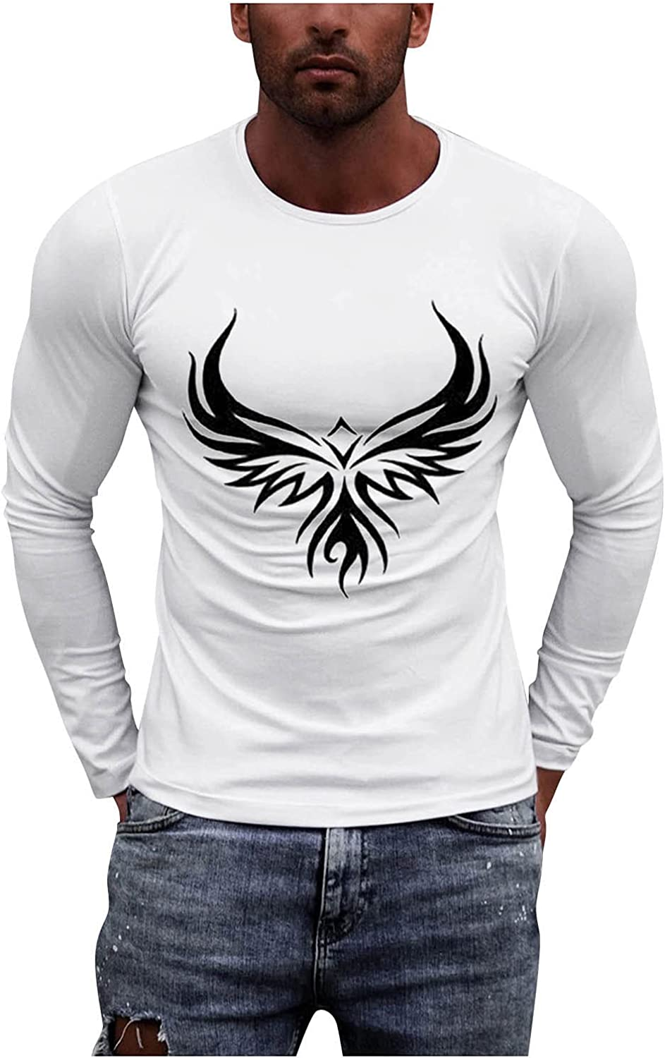 UBST Soldier Long Sleeve T-shirts for Mens, Fall Faith Jesus Cross Graphic Print Workout Athletics Crewneck Tee Tops
