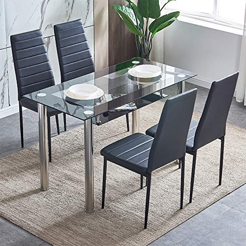 Ansley&HosHo Black Glass Dining Table and Chairs Set of 4 for Small Kitchen Dinette 5 Piece Contemporary Tempered Glass Rectangular Table and 4 Black Faux Leather Chairs for Space Saving