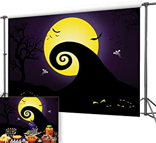 Nightmare Before Christmas Decorations Backdrop 7x5ft Halloween Party Supplies Photography Studio Props Vinyl Pumpkin Jack Yellow Moonlight Ghost Photo Background Birthday Baby Show Home Decor