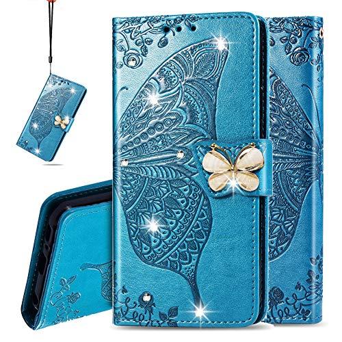 IMEIKONST Portafoglio Custodia per Nokia 2.4, Bling Diamante Embossed Cassa Pelle PU Premium Magnetica Flip Stand Compatibile con Nokia 2.4 Cystal Butterfly Blue SD
