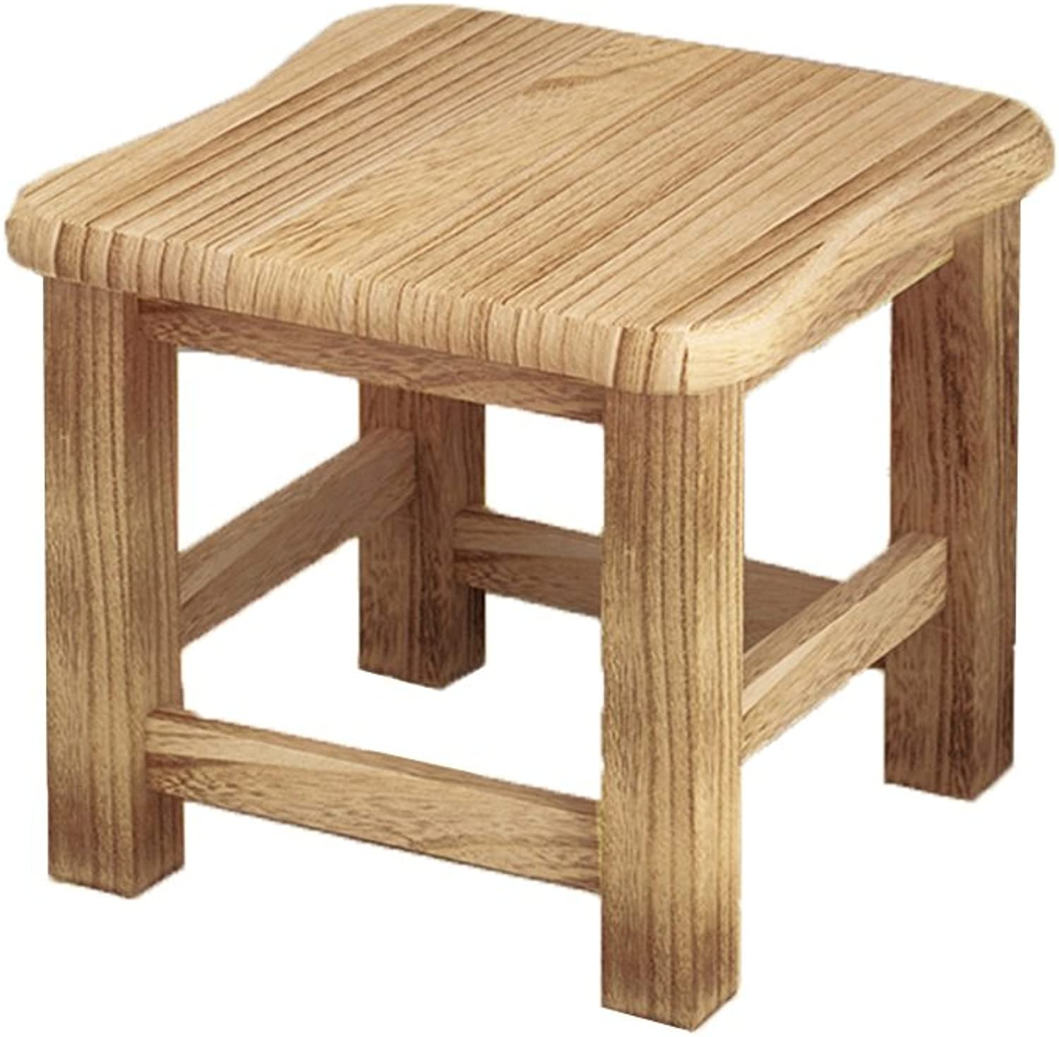 Solid Wood Stool Convenient Mini Simple Modern Coffee Table Stool Fashion Creative Living Room shoes Stool Size  Width  Height  29.5  25.5CM (color   B)