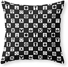 Kingdom Hearts Grid Throw Pillow Indoor Cover (18