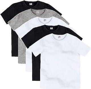 Kit Com 5 Camisetas Básica Infantil Com Gola Redonda Part.B
