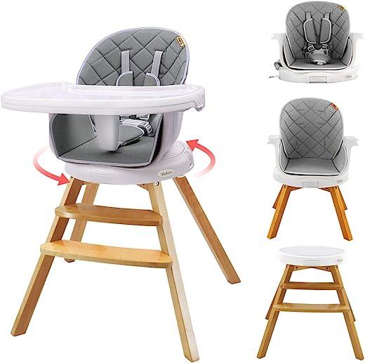 YOLEO Hochstuhl 360° drehbar Holz Kinderhochstuhl, 4 in 1 Mitwachsender Hochstuhl Kinderstuhl Sitzerhöhung Boostersitz Barhocker ab 6 Monaten…