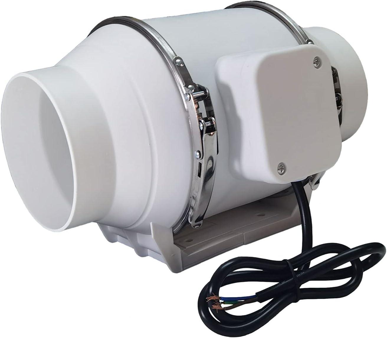 AZITICY Ventilador de Conducto 100mm, 220m³/h Extractor de Baño Aire para Desván, Sótano, Garaje, Tienda de Cultivo